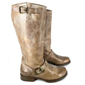 Frye Veronica Slouch Brown Boots Tall Distressed Moto Size 7